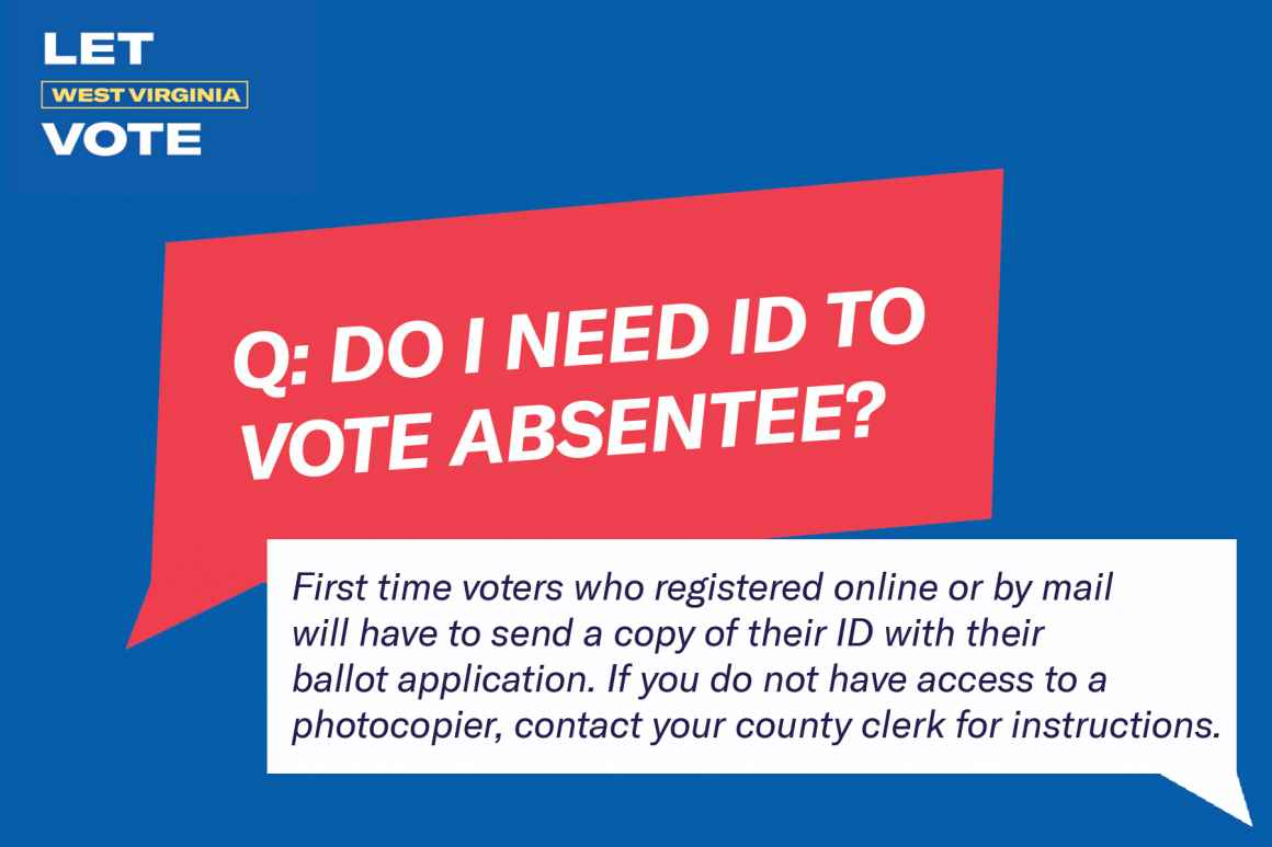 Do I need ID to vote absentee? First time voters who registered online or by mail will have to send a copy of their ID with their ballot application.  If you do not have access to a photocopier, contact your county clerk for instructions.