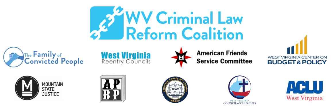 Logos of partner organizations comprising the WV Criminal Law Reform Coalition