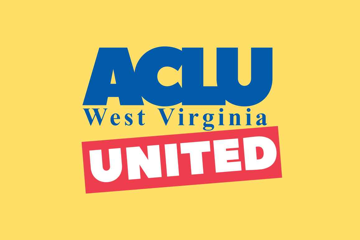 A version of the ACLU West Virginia logo with UNITED overset in red