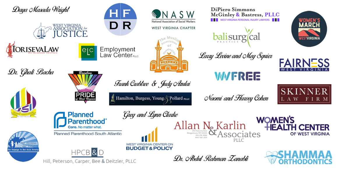 Graphic showing the logos of all sponsors for the 2019 Bill of Rights Bash