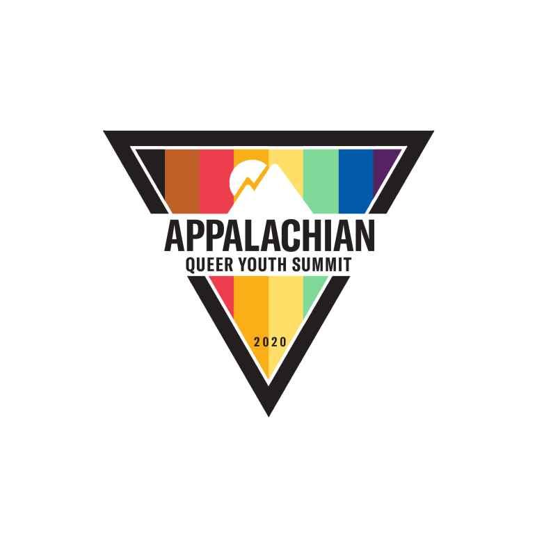 A rainbow triangle with the words APPALACHIAN QUEER YOUTH SUMMIT superimposed