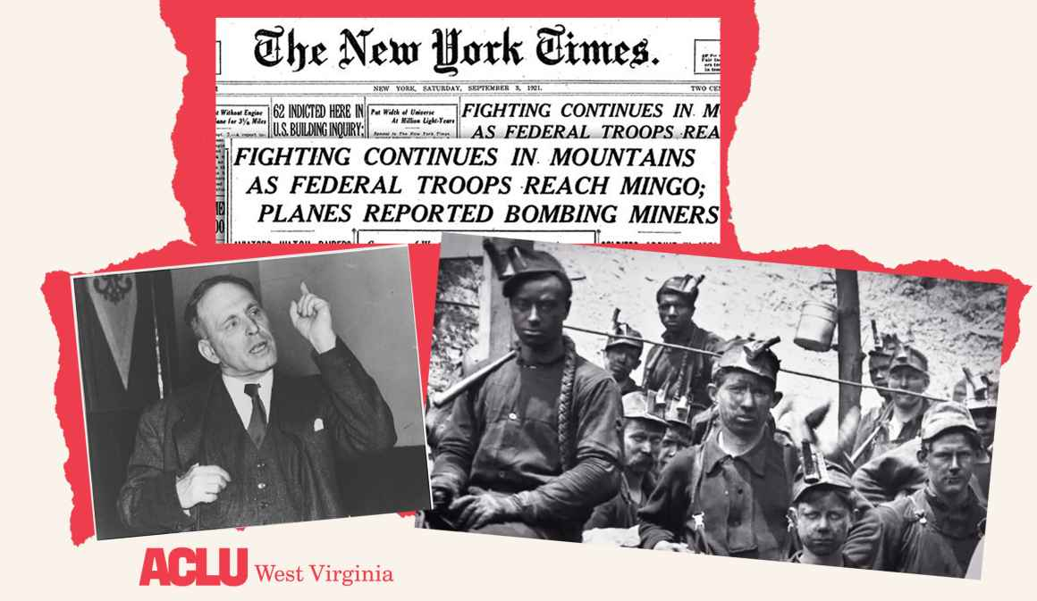 Historic photos of striking WV miners and ACLU foudner Roger Baldwin with historic Blair Mountain headlines