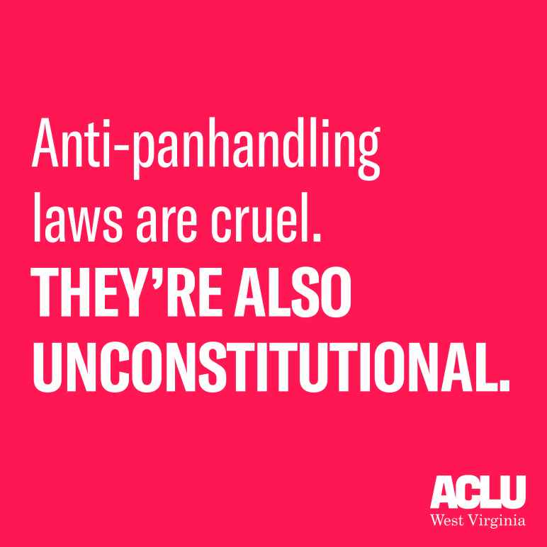"White text on a red background reads ""Anti-Panhandling laws are cruel. They're also unconstitutional."""