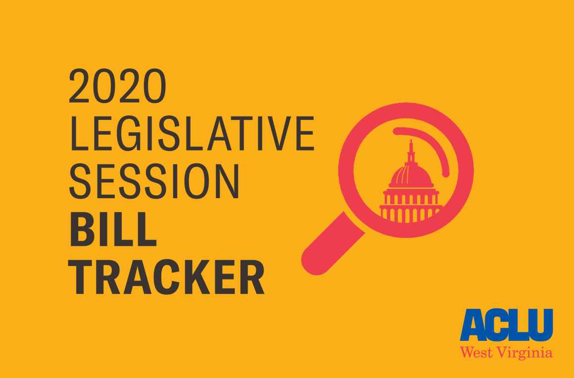 """Image shows a magnifying glass over the state Capitol with the words """"2020 Legislative Session Bill Tracker"""""""