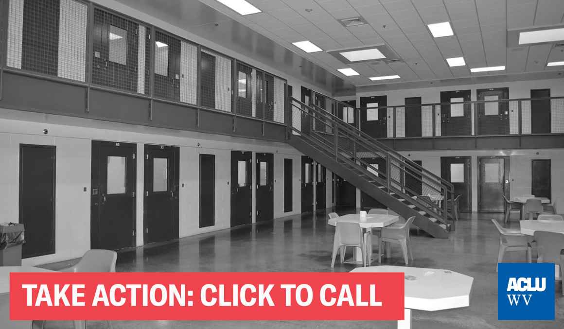 "A black and white photo of a cell block with the words ""Take Action; Click to Call"""