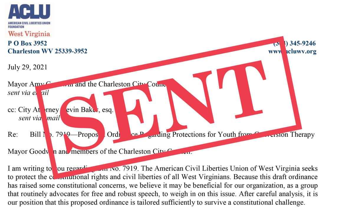 Conversion therapy bill letter