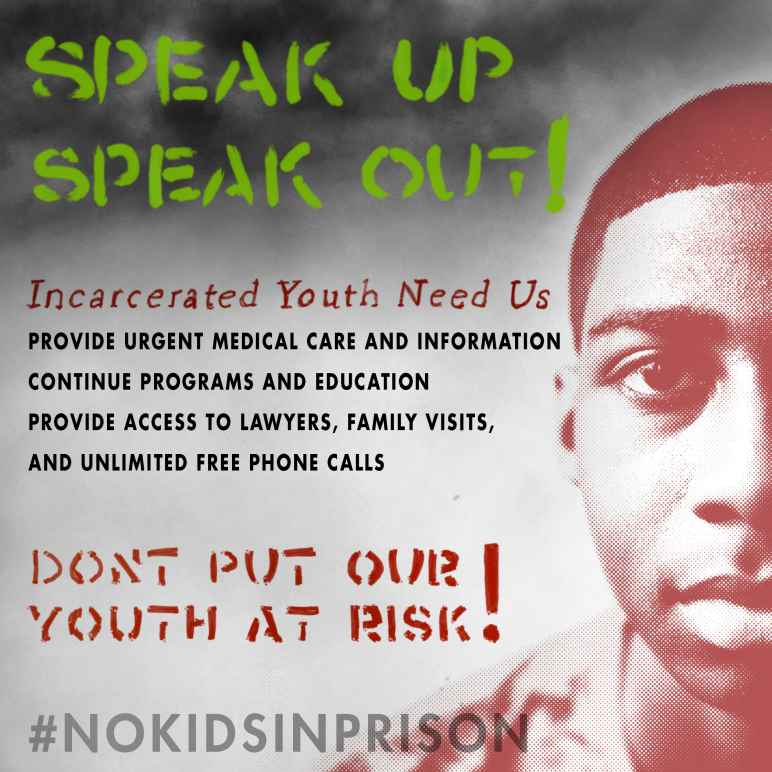 IMage shows a youth with the words Speak Up Speak Out #Nokidsinprison