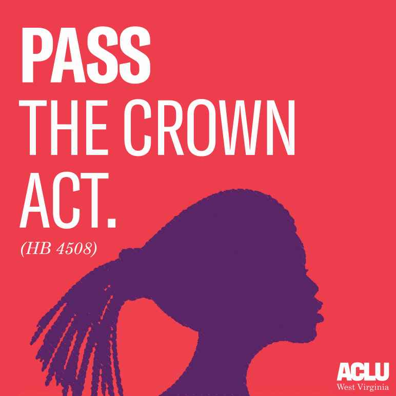 "Image shows the silhouette of a woman with braids with text that says ""Pass the Crown Act."""