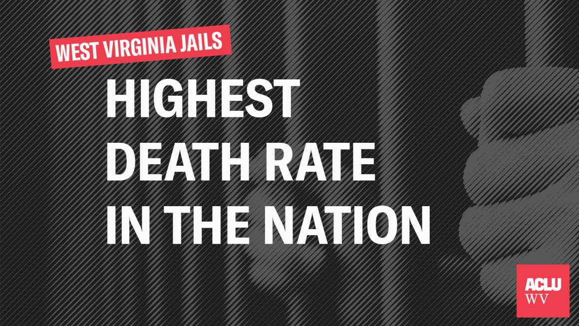 West Virginia Jails Highest Death Rate in the Nation over an image of hands clutching the bars of a cell door
