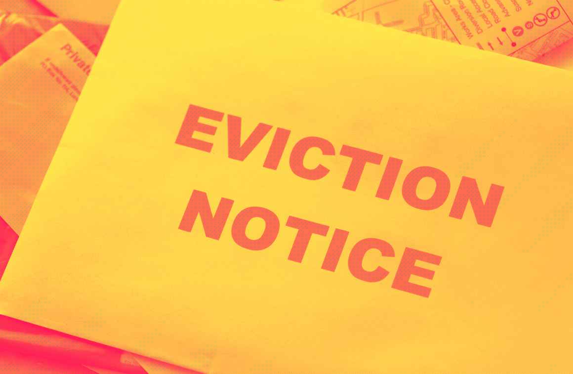 An eviction notice in the mail