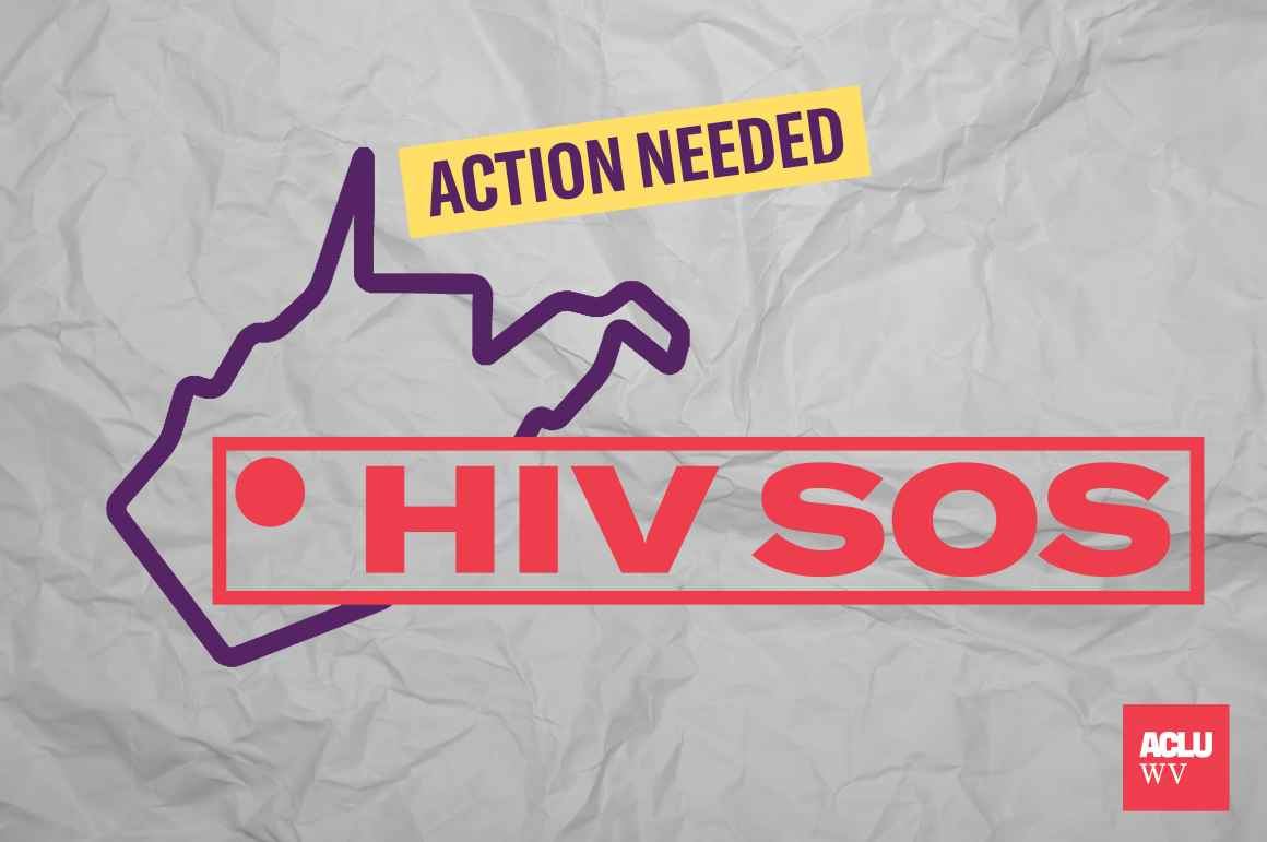 HIV SOS superimposed over the state of WV