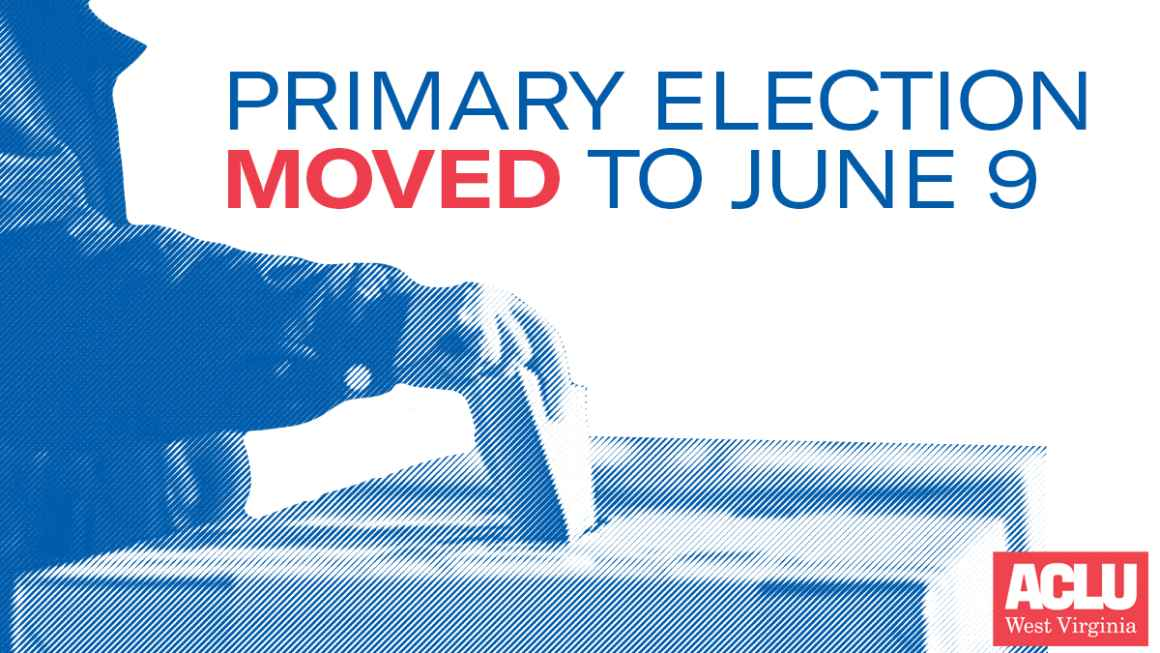 """Image shows a voter with the words """"Primary Election MOVED to June 9"""