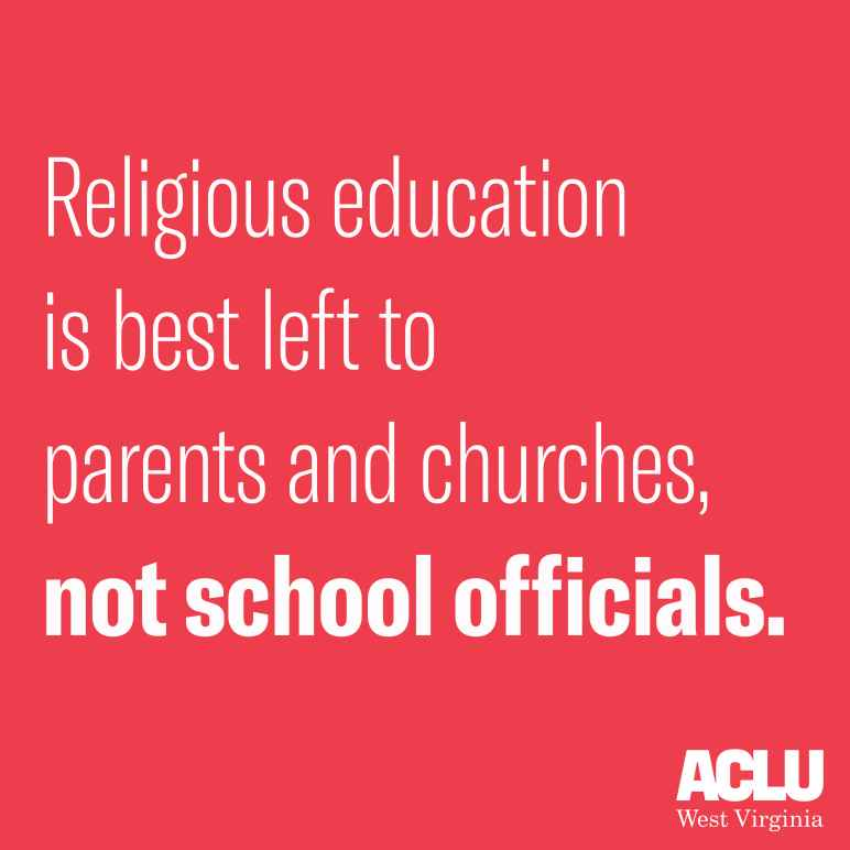 "Red backgroun with white letters reading ""Religious education is best left to parents and churches, not government officials."""