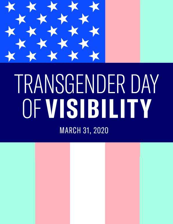 The American flag is shown in the colors of the transgender pride flag