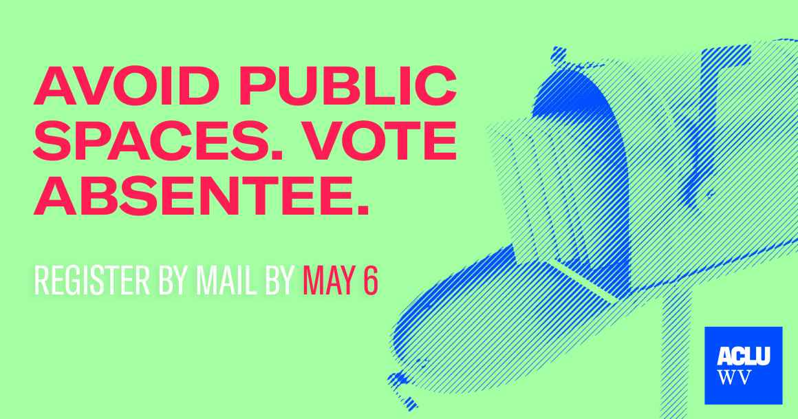 A mailbox is show with the words Avoid Public Spaces. Vote Absentee.