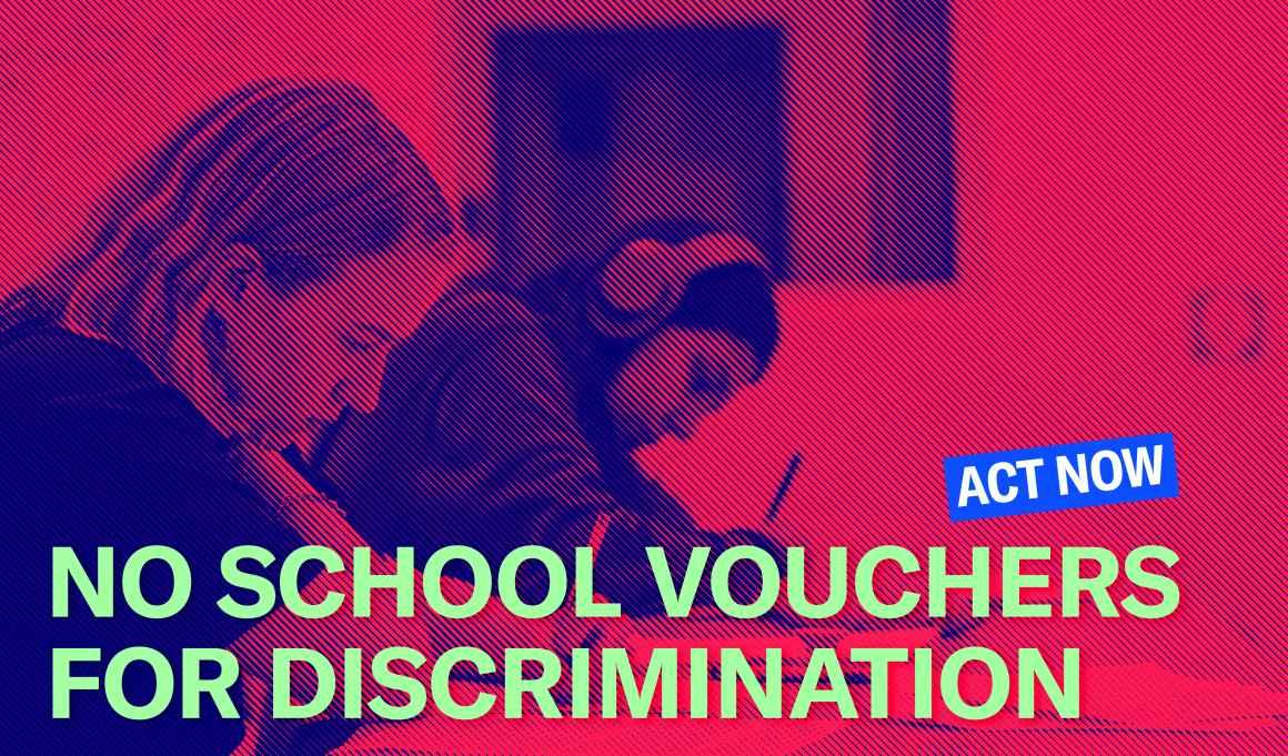 No school vouchers for discrimination