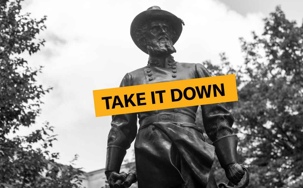 """Statue of Stonewall Jackson with the words """"Take it Down"""" superimposed"""