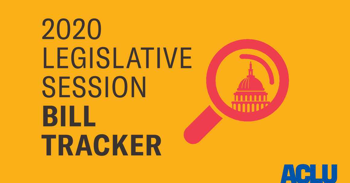 "Image shows a magnifying glass over the state Capitol with the words ""2020 Legislative Session Bill Tracker"""